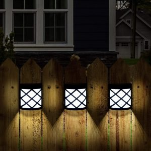 GIGALUMI 8 Pack Solar Fence Lights,6 LED Solar Deck Ligths
